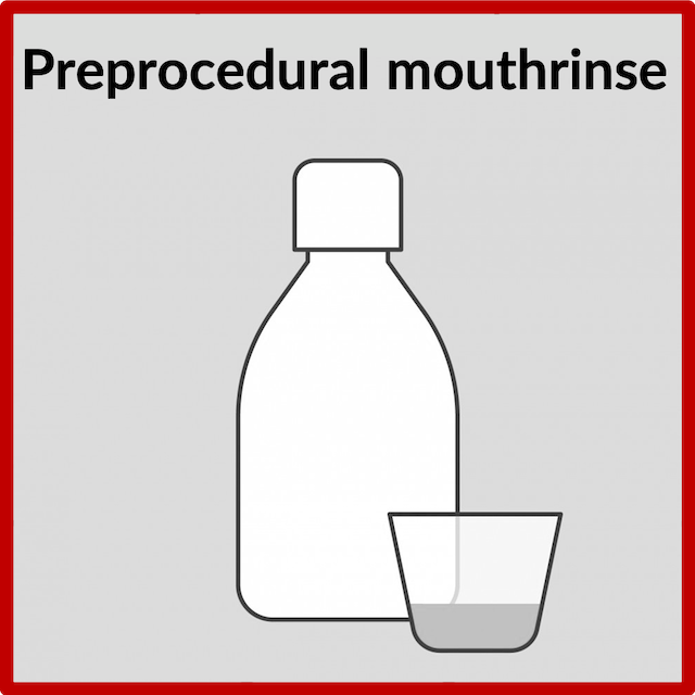 The SARS-CoV-2 virus (which causes COVID-19) is present in saliva. To reduce the potential spread of any virus whilst working in the mouth, all patients will gargle with a 1.5% hydrogen peroxide mouth rinse which has been shown to be effective eliminating the coronavirus.